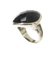 Silver and Blue Sandstone Diva Ring