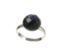 Blue Sandstone Faceted Domed Button Ring