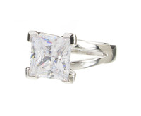 Sterling Silver and Crystal Square Ring