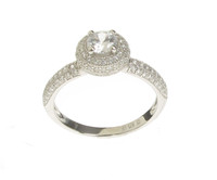 Silver  and CZ Pom-Pom Solitaire Ring