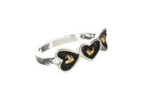 Oxidised Sterling Silver Gold Vermeil Centre Hearts Ring