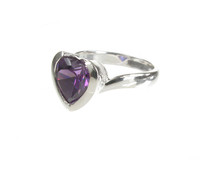 Sterling Silver and Amethyst CZ Heart Ring