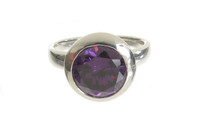 Sterling Silver and Amethyst CZ Bowl Ring