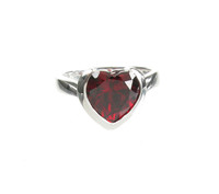 Sterling Silver and Garnet CZ Heart Ring