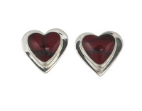 Sterling Silver Formed Red Jasper Heart Earrings