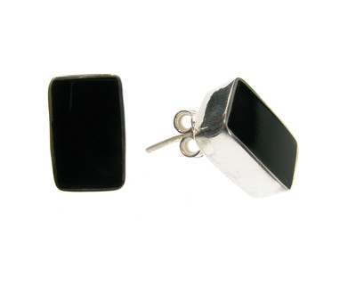 Sterling Silver and Black Agate Oblong Stud Earrings