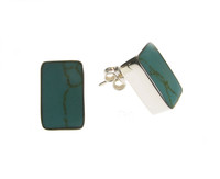 Sterling Silver and Formed Turquoise Oblong Stud Earrings