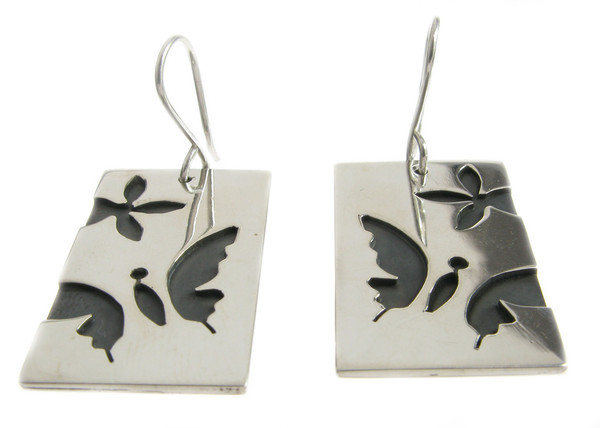 Sterling Silver Butterfly Dog Tag Earrings