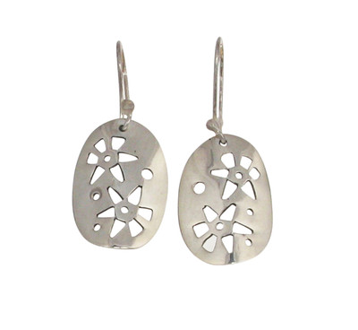 Sterling Silver Oval Drop Earrings with Cut-out Flowers