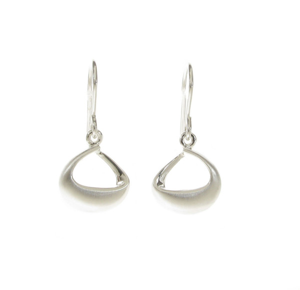 Brushed and Puffed Silver Loop Earrings
