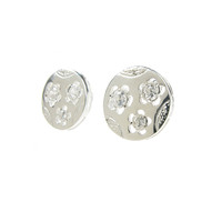 Sterling Silver Textured Disc Stud Earrings with Flower Relief Set with Circonias