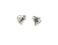 CZ Studded Diddy Sterling Silver Heart Earrings