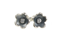 Oxidised Sterling Silver and CZ Simple Flower Earrings