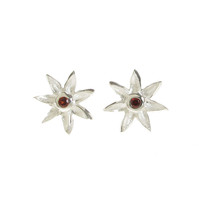 Silver and Garnet CZ Starflower Earrings