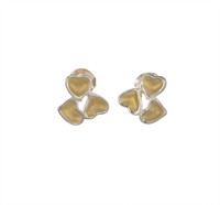 Sterling Silver and Gold Vermeil Heart Cluster Stud Earrings