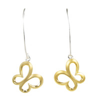 Sterling Silver and Gold Vermeil Long Drop Butterfly Earrings