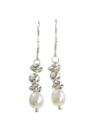 Sterling Silver and Pearl Multi-Bead Drop Earrings