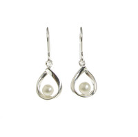 Silver Twirl with a Pearl Earrings