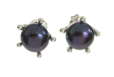 Sterling Silver and Black Pearl  Earrings