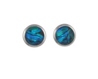 Round Blue Paua Shell Earrings