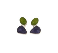 Sterling Silver and Ceramic Multi-coloured Earrings