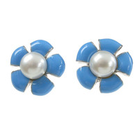 Sterling Silver and Blue Enamel Flower Earrings
