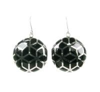Sterling Silver and Black Resin Round Earrings