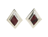 Sterling Silver and Formed Red Jasper Diamond Shaped Earrings