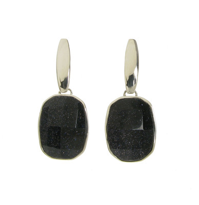 Chunky and Square Blue Sandstone Earrings