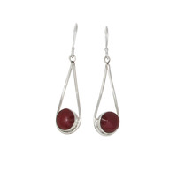 Red Button and Silver Loop Earrings