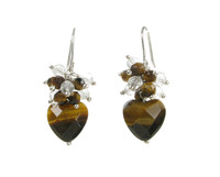 Small Tigers Eye Bead Top Heart Earrings