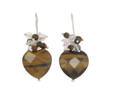 Sterling Silver and Tiger's Eye Drop Heart Earrings