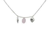 Sterling Silver Necklace with Silver and Amethyst Charms
