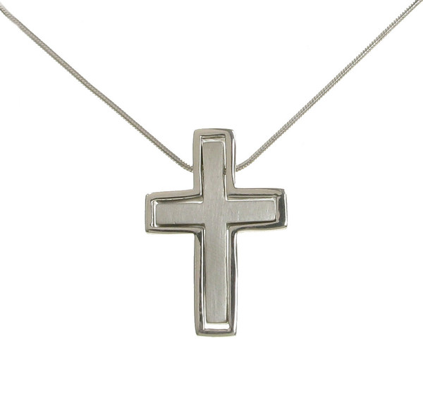 "Sterling Silver Friendship Cross Pendant with 16 - 18"" Silver Chain"