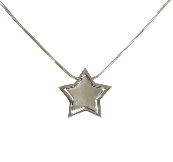 "Sterling Silver Friendship Star Pendant with 16 - 18"" Silver Chain"