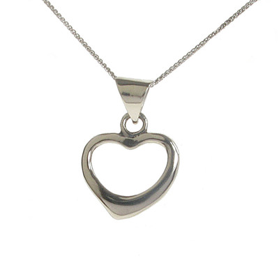 Sterling Silver Open Heart Pendant without Chain