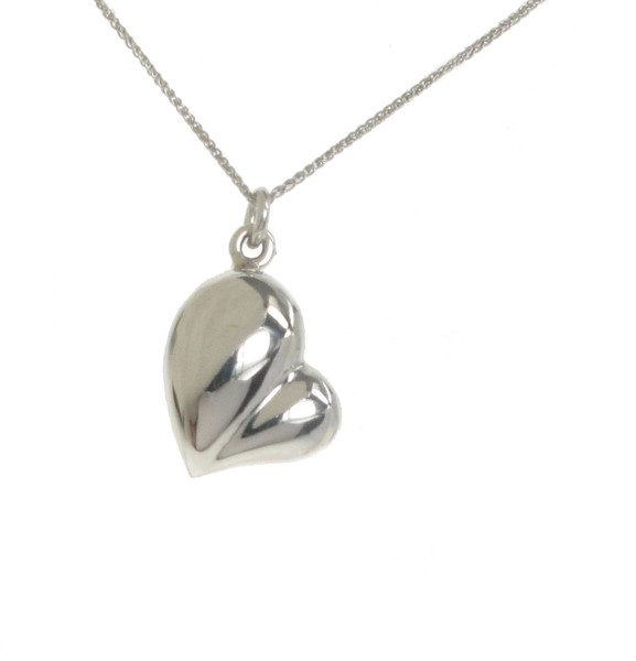 "Silver 3-D Heart Pendant with 16 - 18"" Silver Chain"