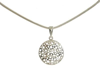 "Sterling Silver Mesh Pendant with 16 - 18"" Silver Chain"