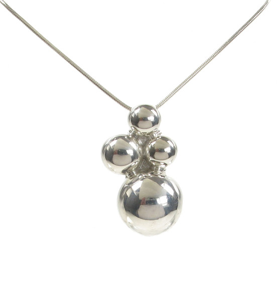 Sterling Silver Abstract Bobbles Pendant without Chain