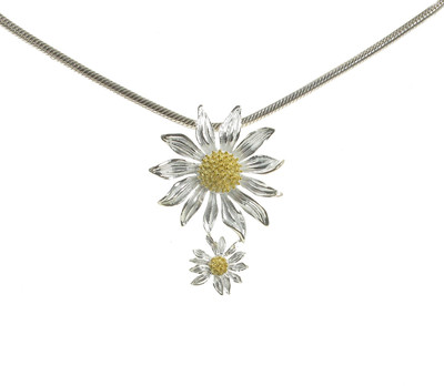 Sterling Silver Double Daisy Pendant without Chain