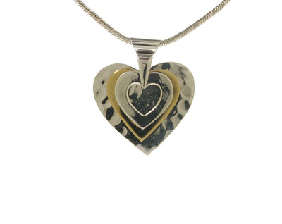 All the Hearts' Silver and Gold Vermeil Pendant without Chain