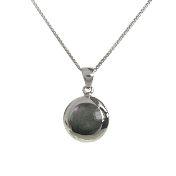 "Sterling Silver and Dark Mother of Pearl Round Pendant with 16 - 18"" Silver Chain"