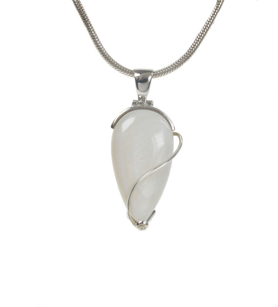 Sterling Silver and White Mother of Pearl Teardrop Pendant without Chain