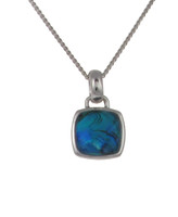 Diddy Square Blue Paua Shell Pendant