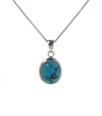 "Silver Framed Oval Turquoise Pendant with 16 - 18"" Silver Chain"