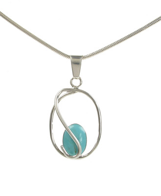 Sterling Silver Caged Formed Turquoise Stone Pendant