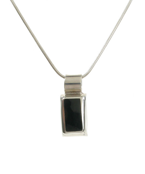Sterling Silver Rectangled Black Agate Pendant without Chain