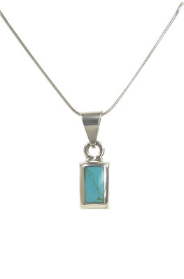 Sterling Silver Rectangled Formed Turquoise Pendant without Chain