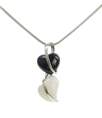 Silver and Blue Sandstone Hearts Pendant without Chain