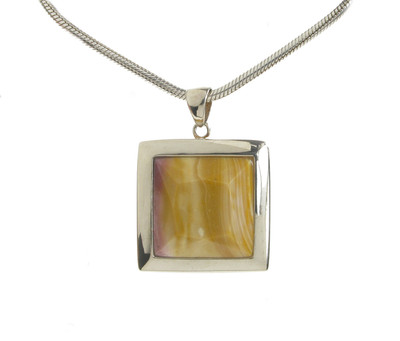 "Silver Framed Square Mookaite Pendant with 16 - 18"" Silver Chain"